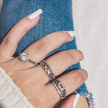 Conjunto de anéis com 4 peças, queen little, prateado - REF K041