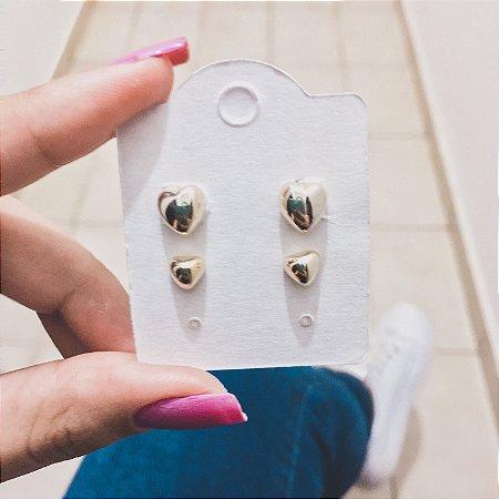 Kit 2 pares de brincos, coração, dourado - REF B308