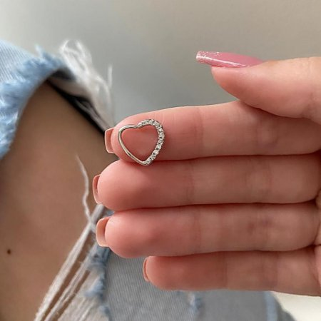 Piercing de furo, coração com strass (lateral I), prateado - REF X037