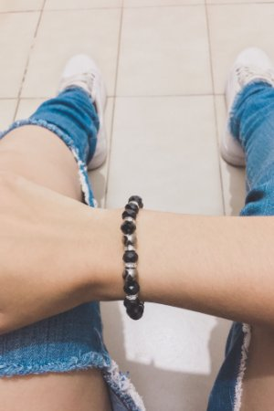 Pulseira sasha, good night, black, shine - REF P540