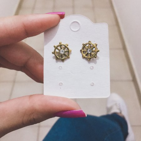 Brinco mini, leme, dourado - REF B311