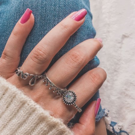 Conjunto de anéis com 3 peças, inspired love, prateado - REF K046