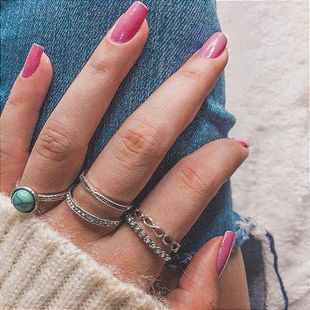 Conjunto de anéis com 5 peças, turquesa, prateado - REF K047