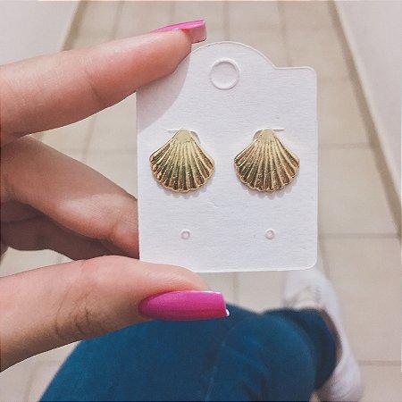 Brinco mini, concha, dourado - REF B320