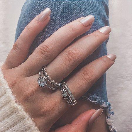 Conjunto de anéis com 4 peças, inspired + love, prateado - REF K049