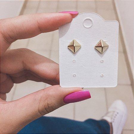 Brinco mini, losango P, dourado - REF B339