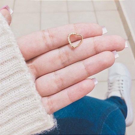 Piercing de furo, coração com strass (lateral), dourado - REF X048