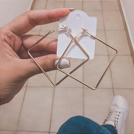 Brinco new collection, argola losango, dourado - REF B363