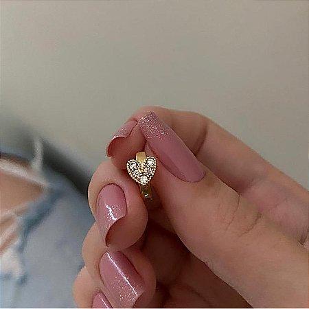 Piercing de furo, argolinha coração shine, dourado - REF X073