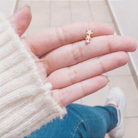Piercing de furo, pino, star rain, dourado - REF X076