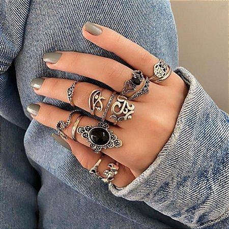Conjunto de anéis com 11 peças, asia, prateado envelhecido, R$ 3,62 cada anel - REF K053