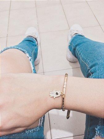 pulseira santa fé, hamsã, dourada - REF P575