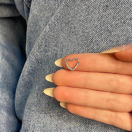 Piercing de furo, coração com strass (V), prateado - REF X082