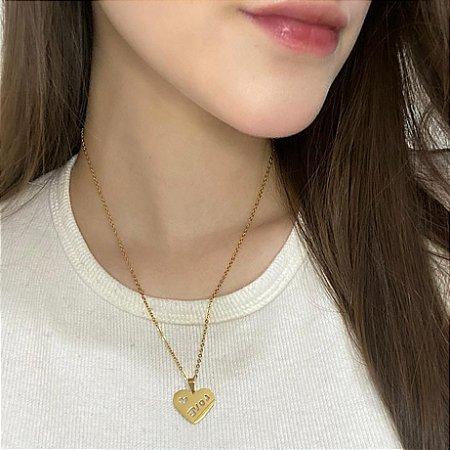 Correntinha fanny, love, dourada