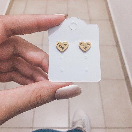 Brinco mini, fanny, love, dourado - REF B412