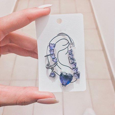 Kit de brincos ear cuff, veneza, 4 peças, azul turquesa, ródio negro - REF B421