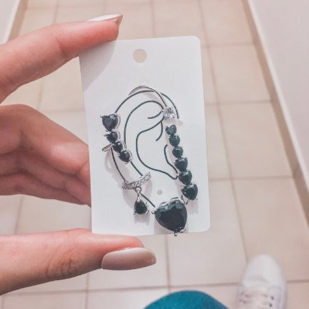 Kit de brincos ear cuff, veneza, 4 peças, preto, prateado - REF B423