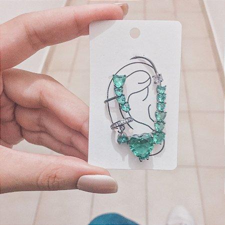 Kit de brincos ear cuff, veneza, 4 peças, verde, prateado - REF B424