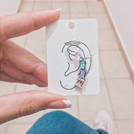 Kit de brincos ear cuff, tai, 2 peças, outono, prateado - REF B440
