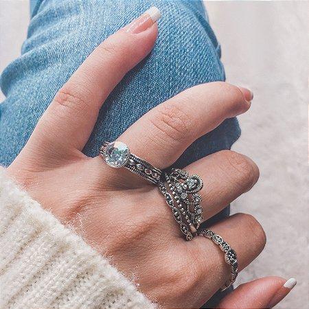 Conjunto de anéis com 4 peças, diva, prateado envelhecido - REF K055