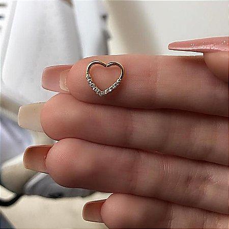 Piercing de furo, coração com strass (V), dourado - REF X096