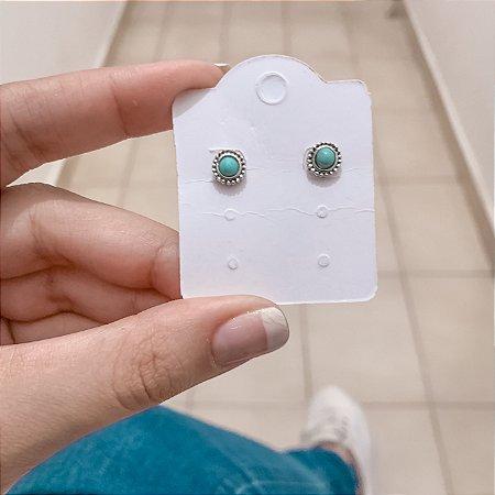 Brinco mini, bohemia, blue, prateado envelhecido - REF B482