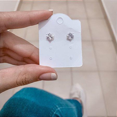 Brinco mini, tassi, translúcido, prateado - REF B488