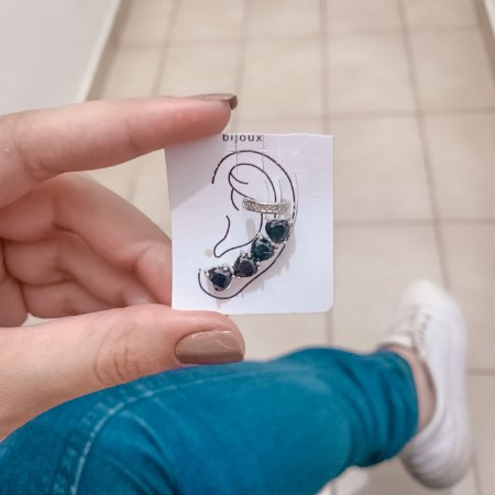Kit de brincos ear cuff, love, 2 peças, preto, prateado - REF B637