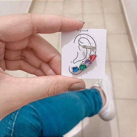 Kit de brincos ear cuff, love, 2 peças, outono, prateado - REF B641