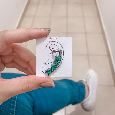 Kit de brincos ear cuff, love, 2 peças, verde, ródio negro - REF B642