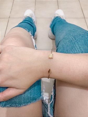 Pulseira bracelete bohemia, flexa, dourado - REF P619