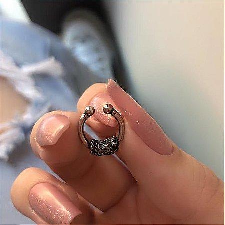 Piercing fake, argolinha, aribá III, prateado envelhecido - REF X169