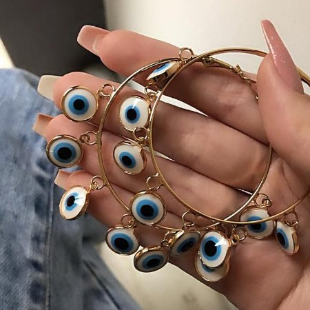 Brinco new collection, argola, amanda, olho grego, dourada  - REF B682