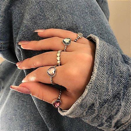 Conjunto de anéis com 5 peças, bohemia, florença, prateado envelhecido - REF K057