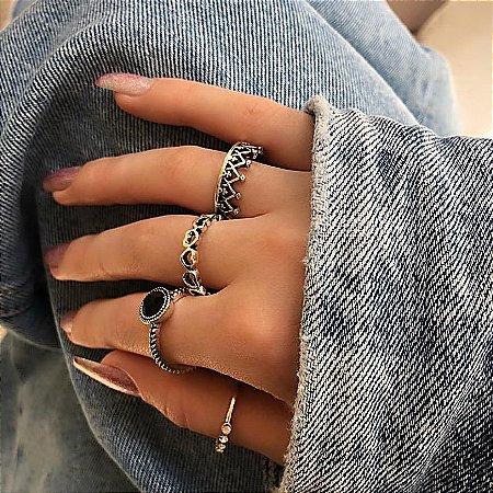 Conjunto de anéis com 4 peças, lua de mel, black, prateado - REF K059