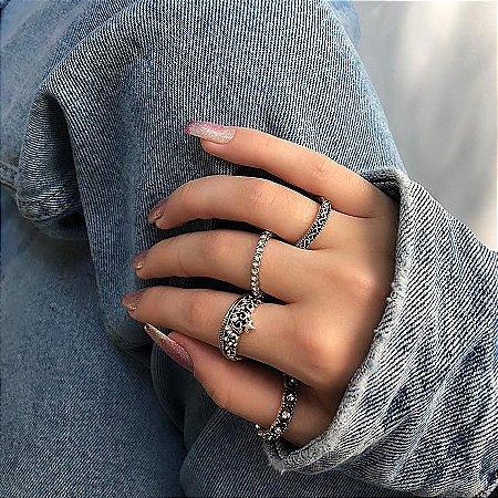 Conjunto de anéis com 4 peças, deusa, prateado - REF K061
