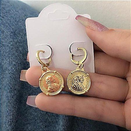 Brinco mini argolinha, amanda, brasão, dourado - REF B702