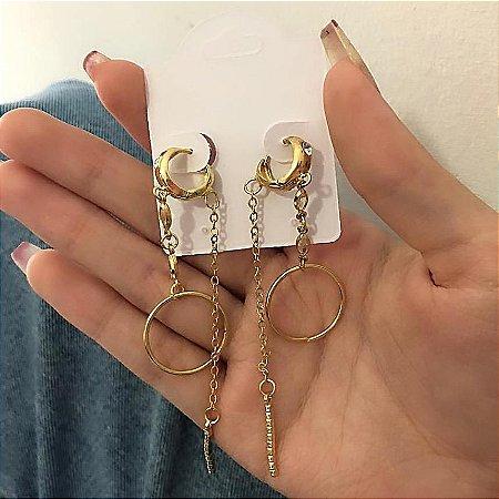Brinco argola, amanda, geometric, dourado - REF B705