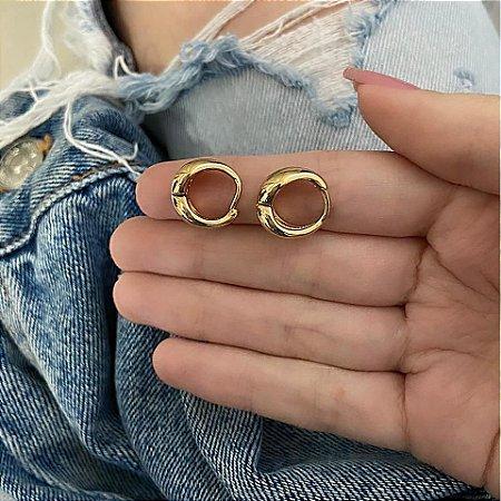 Brinco mini argola, amanda, elo II, dourado - REF B748