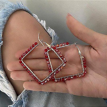 Brinco argola losango, amanda, navete, 4cm, vermelha, dourada - REF B777