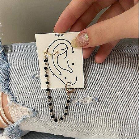Brinco ear cuff c/ argolinha de pressão, letícia, jessie, preto, dourado - B826