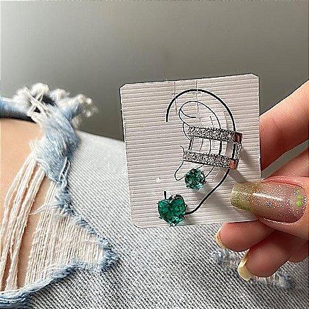 Kit de brincos c/ ear cuff de pressão, madri, 3 peças, verde, prateado - REF B841