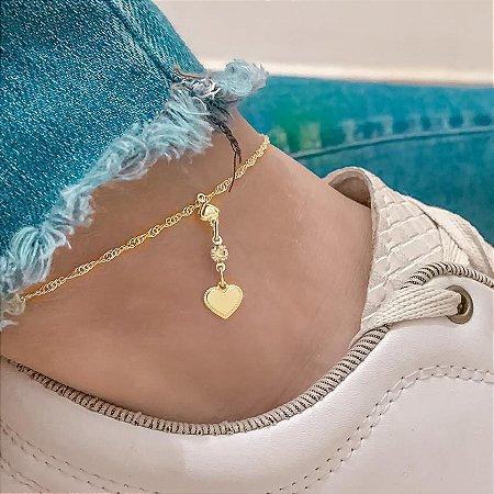 Tornozeleira tatti, love II, dourada - REF T034