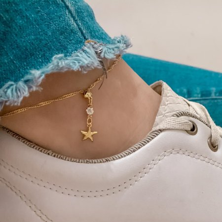 Tornozeleira tatti, estrela do mar, dourada - REF T037