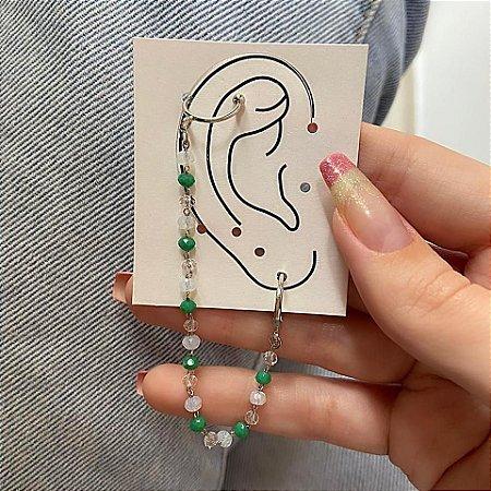 Brinco ear cuff c/ argolinha de pressão, letícia, jessie, verde, prateado - B871