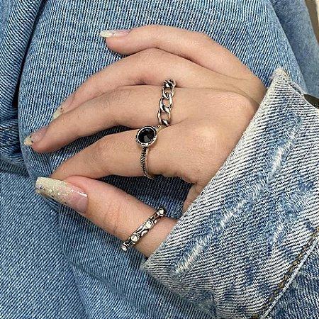 Conjunto de anéis com 3 peças, trança, preto, prateado - REF K068
