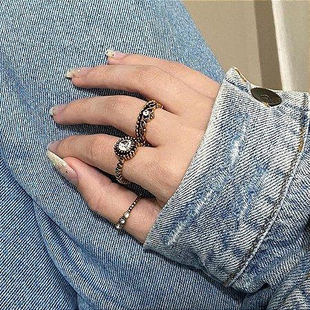 Conjunto de anéis com 3 peças, queen, dourado - REF K069