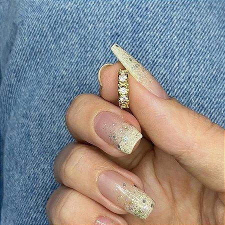 Piercing de furo, argolinha, cravo, dourado - REF X222