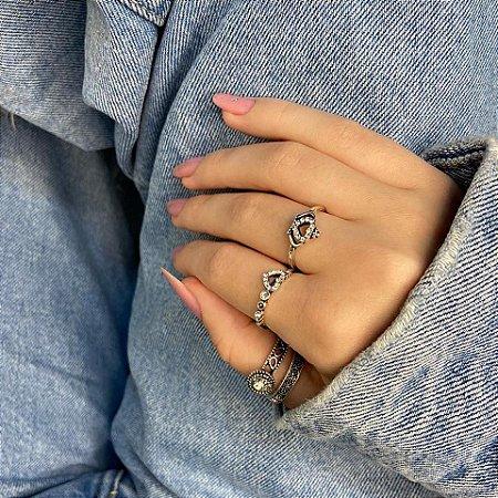 Conjunto de anéis com 4 peças, sou tímida, prateado - REF K071