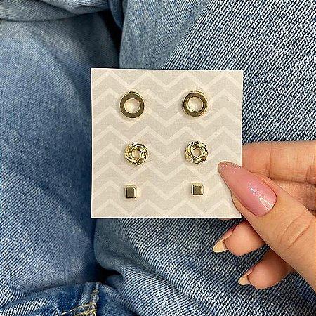 Kit de brincos, 3 pares, amanda, geométrico, R$ 4,96 o par, dourado - REF B919